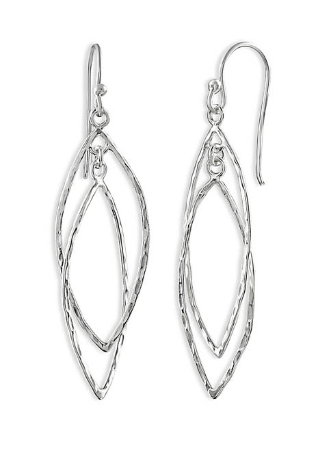 Belk Silverworks Double Hammered Leaf Drop Earrings