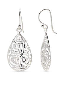 Sterling Silver Polished Filigree Teardrop Earrings