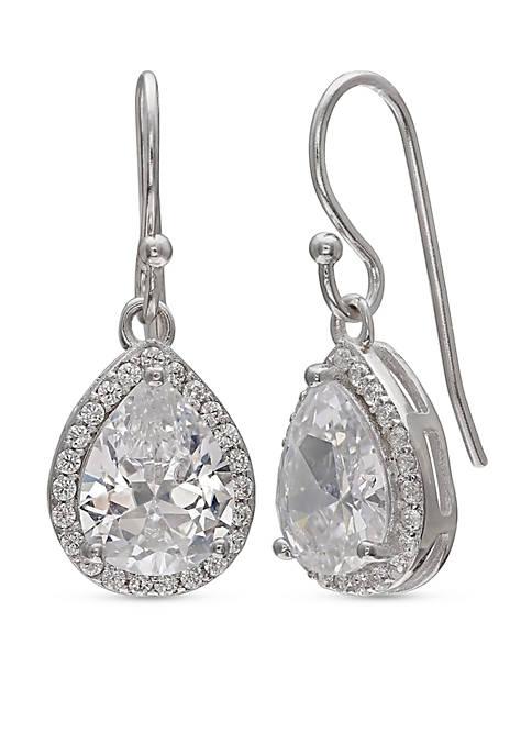 Belk Silverworks Simply Sterling Pave Cubic Zirconia Pear