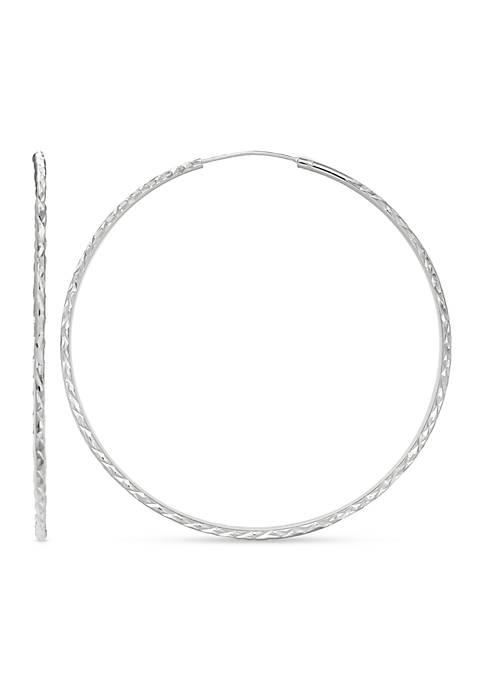 Belk Silverworks Simply Sterling Diamond Cut Hoop Earrings