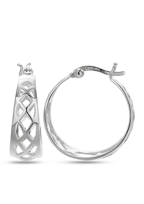 Belk Silverworks Simply Sterling Triangular Scroll Hoop Earrings