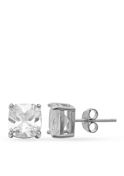 Belk Silverworks Simply Sterling Cushion Cut Stud Earrings