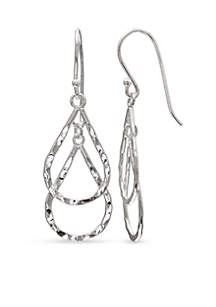 Simply Sterling Diamond Cut Double Teardrop Earrings