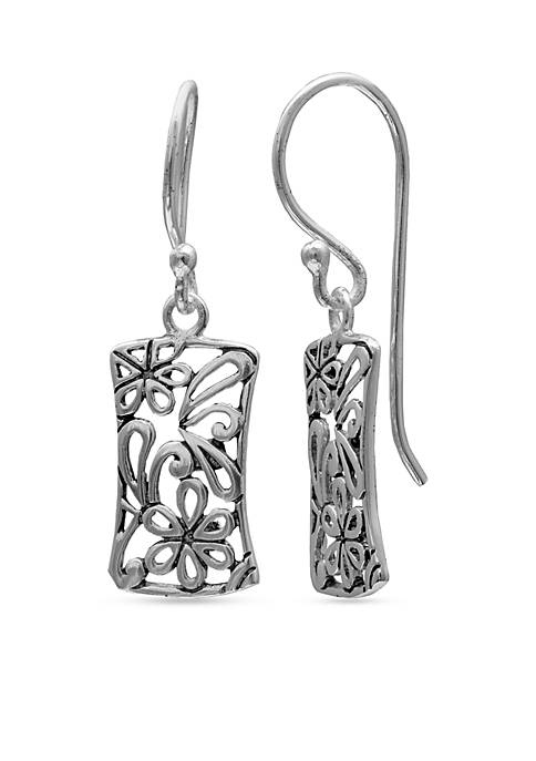 Belk Silverworks Simply Sterling Rectangle Floral Filigree Drop