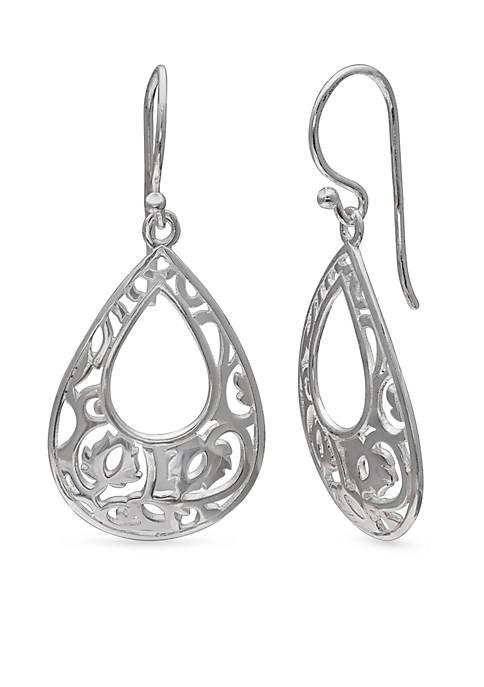 Belk Silverworks Simply Sterling Filigree Teardrop Earrings