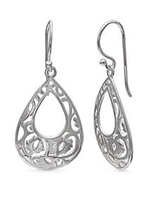 Simply Sterling Filigree Teardrop Earrings