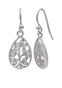 Simply Sterling Pave Cubic Zirconia Family Tree Teardrop Earrings