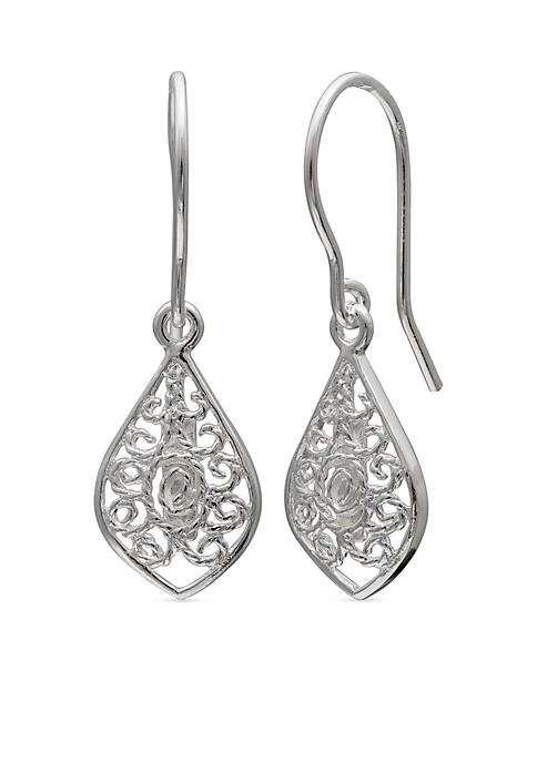Belk Silverworks Simply Sterling Filigree Kite Drop Earrings