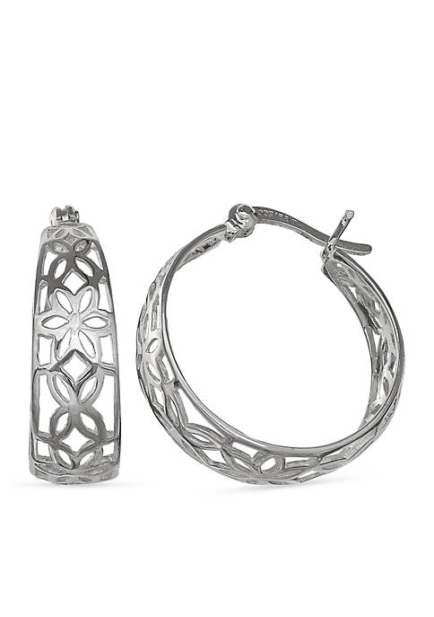 Belk Silverworks Simply Sterling Floral Filigree Hoop Earrings