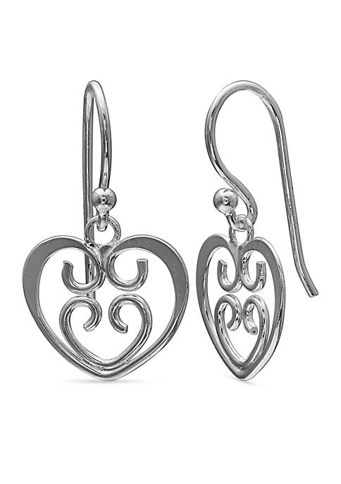 Belk Silverworks Simply Sterling Filigree Heart Drop Earrings