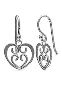Simply Sterling Filigree Heart Drop Earrings
