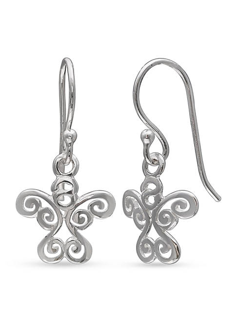 Belk Silverworks Simply Sterling Angel Swirl Drop Earrings