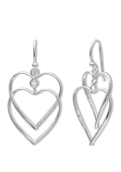 18 mm x 21 mm Polished Double Heart Drop Earrings