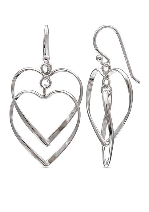 Simply Sterling Open Double Heart Drop Earrings