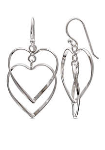 Simply Sterling Open Double Heart Drop Earrings