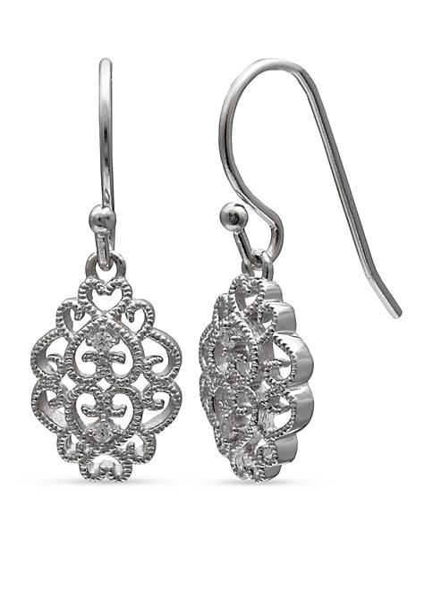 Belk Silverworks Simply Sterling Beaded Filigree Cubic Zirconia