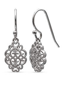 Simply Sterling Beaded Filigree Cubic Zirconia Drop Earrings