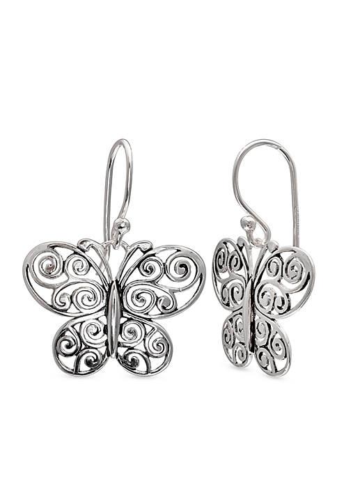 Simply Sterling Oxidized Filigree Butterfly Drop Earrings