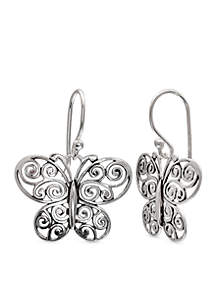 Simply Sterling Oxidized Filigree Butterfly Drop Earrings