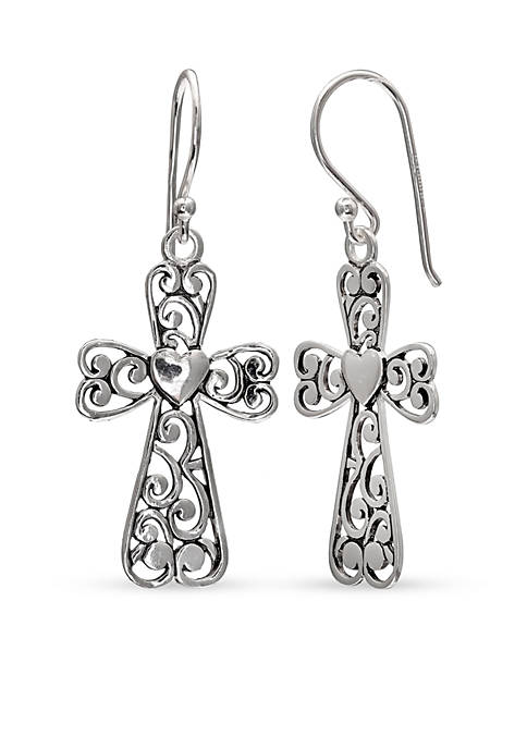 Belk Silverworks Simply Sterling Filigree Cross Drop Earrings