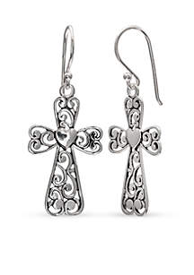 Simply Sterling Filigree Cross Drop Earrings
