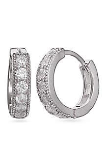 Simply Sterling Silver Cubic Zirconia Huggie Hoop Earrings