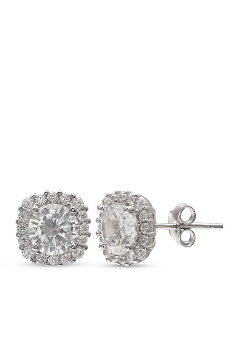 Belk Silverworks Pave Cubic Zirconia Stud Earrings