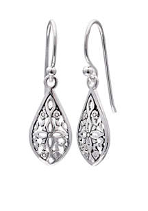 Simply Sterling Silver Filigree Teardrop Drop Earrings