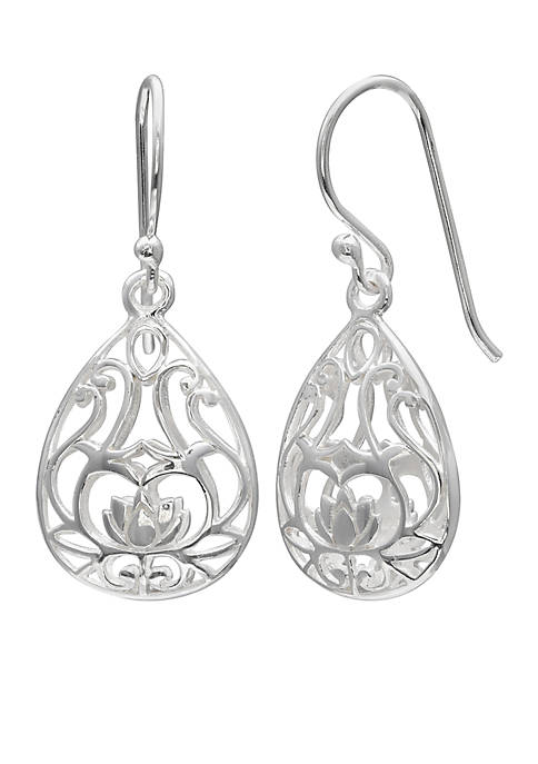 Belk Silverworks Sterling Silver Filigree Tear Drop Earrings