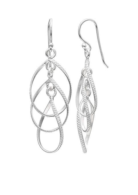 Belk Silverworks Sterling Silver Triple Oval Drop Earrings