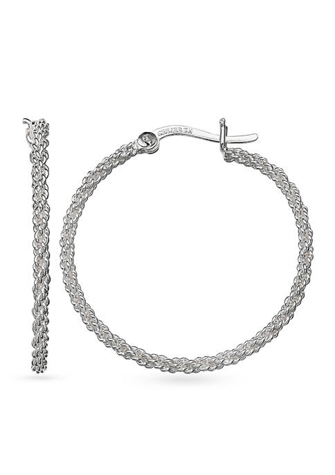 Belk Silverworks Simply Sterling Silver Small Braided Hoop