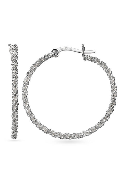 Belk Silverworks Simply Sterling Silver Medium Braided Hoop