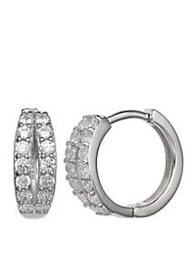 Simply Sterling Silver 17-mm. Pave Cubic Zirconia Open Huggy Earrings
