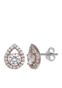 Simply Sterling Silver CZ Teardrop Stud Earrings