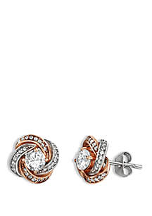 2-Tone Pave Cubic Zirconia Love Knot Stud Earrings
