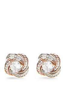 Sterling Silver and Rose Gold-Tone Cubic Zirconia Love Knot Earrings