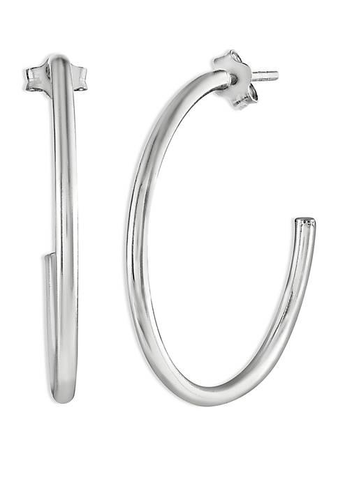 Polished Tube C Hoop Earrings
