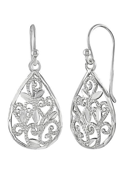 Belk Silverworks Cubic Zirconia Filigree Drop Earrings