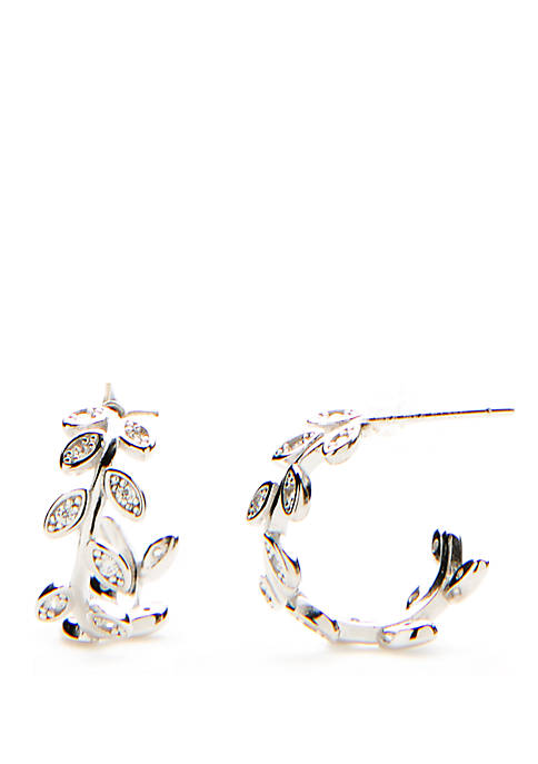 Sterling Silver Pave Lead Hoop Earrings