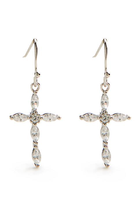 Sterling Silver Marquise Cubic Zirconia Cross Drop Earrings