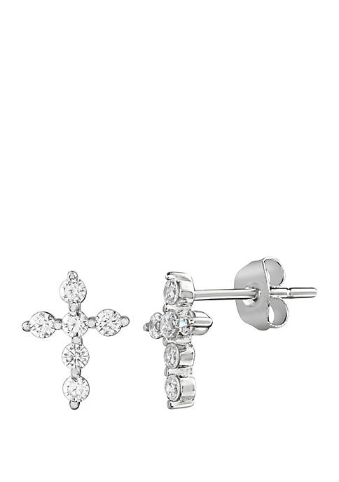 Belk Silverworks Pave Cubic Zirconia Mini Cross Stud
