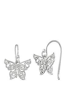 Polished Filigree Butterfly Drop Earrings
