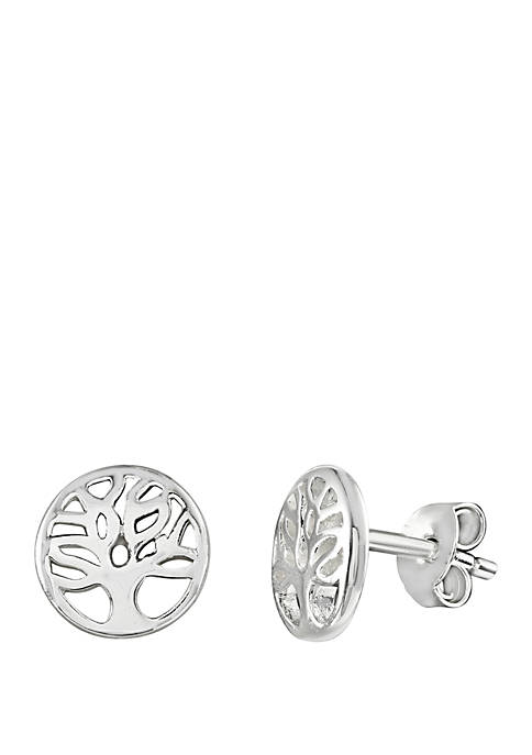 Sterling Silver Polished Family Tree Stud Earrings