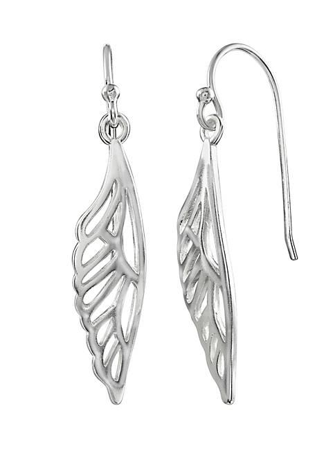 Polished Half Butterfly Wing Drop Earrings
