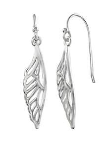 Belk Silverworks Polished Half Butterfly Wing Drop Earrings