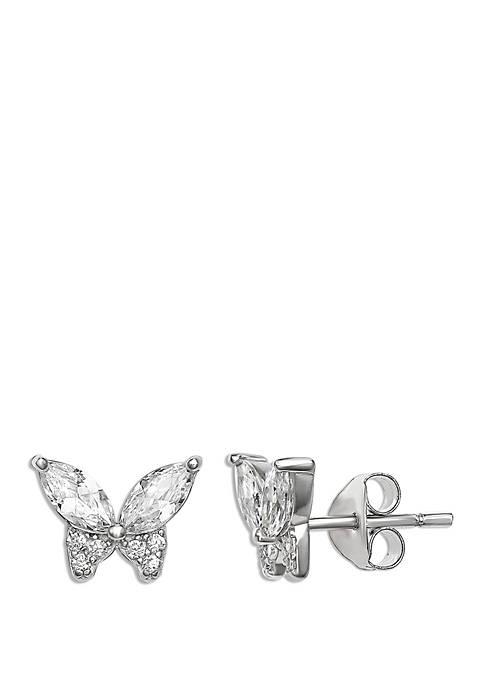 Belk Silverworks Cubic Zirconium Marquise Butterfly Stud Earrings