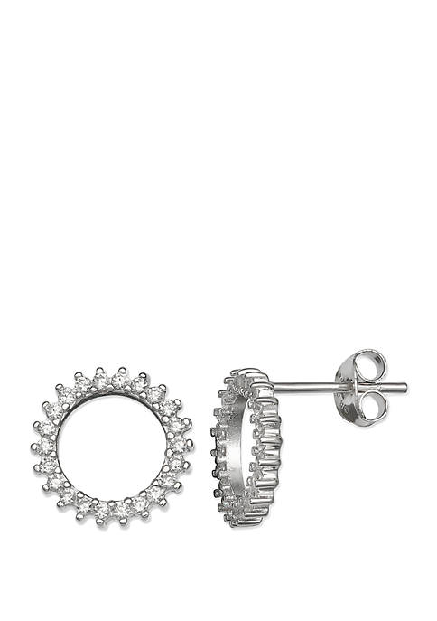 Belk Silverworks Pave Cubic Zirconia Cutout Circle Stud