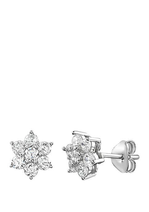 Cubic Zirconia Flower Stud Earrings