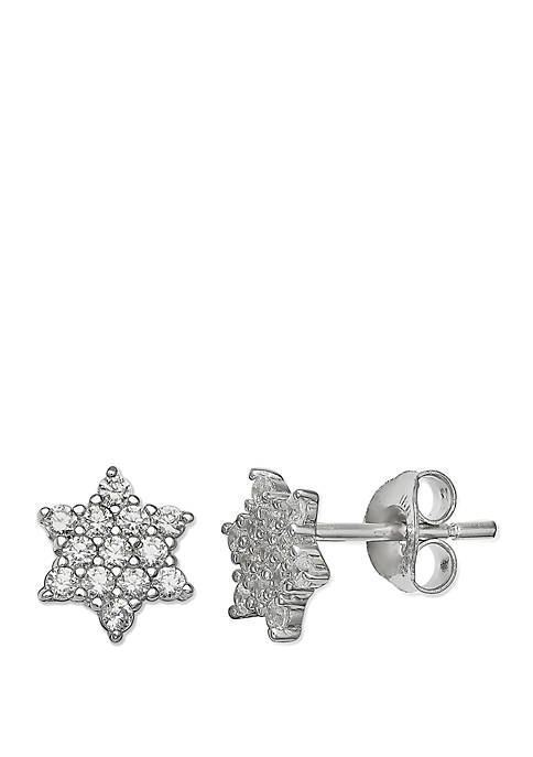 Pave Cubic Zirconia Star Stud Earrings