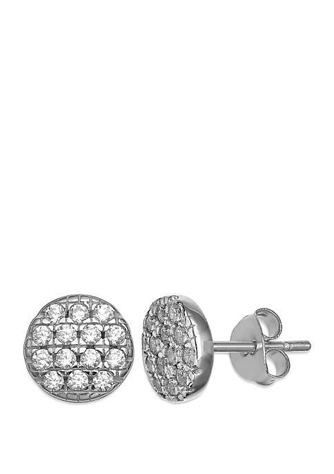 Belk Silverworks Pave Cubic Zirconia Round Disc Stud